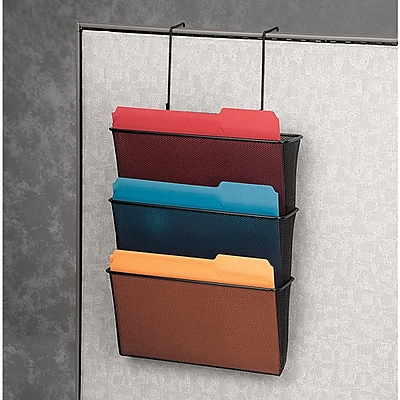 Fellowes® Partition Additions™ Mesh Triple File Pocket, Black (75901)