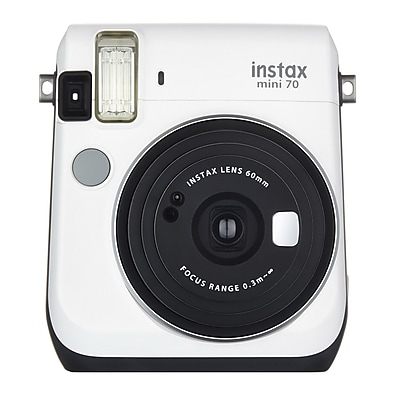 Fujifilm Instax Mini 70 Instant Film Camera with Basic Kit, 60 mm, Moon White