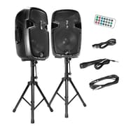 Pyle® PPHP1249KT Active/Passive PA Speaker System Kit, 1800 W, Wireless, Black