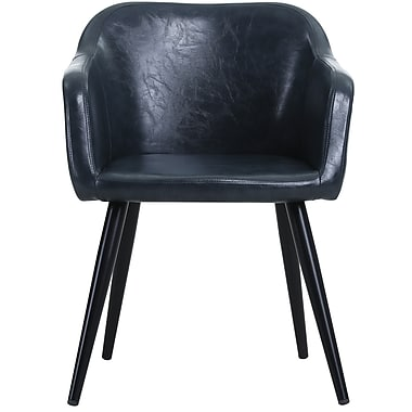 !nspire Mid Century Faux Leather/Metal Accent Chair, Blue (403-199BLU)