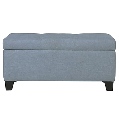 WHI Linen look Fabric Storage Ottoman, Light Blue (402-228LB)