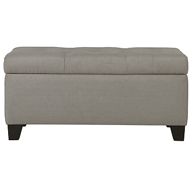 WHI Linen look Fabric Storage Ottoman, Light Grey (402-228LG)