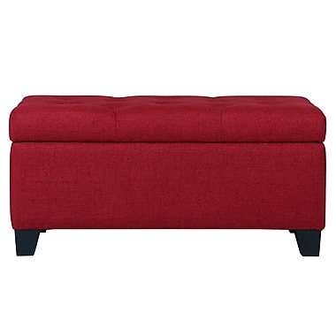 WHI Linen look Fabric Storage Ottoman, Red (402-228RD)
