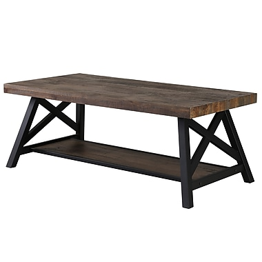 !nspire Rustic Modern 2-Tier Pine Veneer Metal Coffee Table (301-332RK)