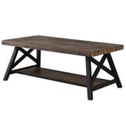 !nspire - Table à café en placage de pin et métal de style rustique moderne à 2 niveaux (301-332RK)