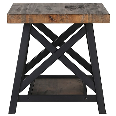 !nspire Rustic Modern 2 Tier Pine Veneer/Metal Accent Table (501-332RK)