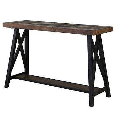 !nspire Rustic Modern 2-Tier Pine Veneer and Metal Console Table (502-332RK)