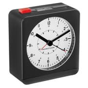 Marathon Analog Alarm Clock with Auto Night Light, Black/White (CL030053BK-WH)