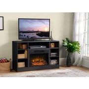 Flamelux Oakley Media Fireplace, Graphite Quartered Oak
