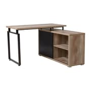Homestar L Shaped Desk with Sliding Door Bookcase Duo