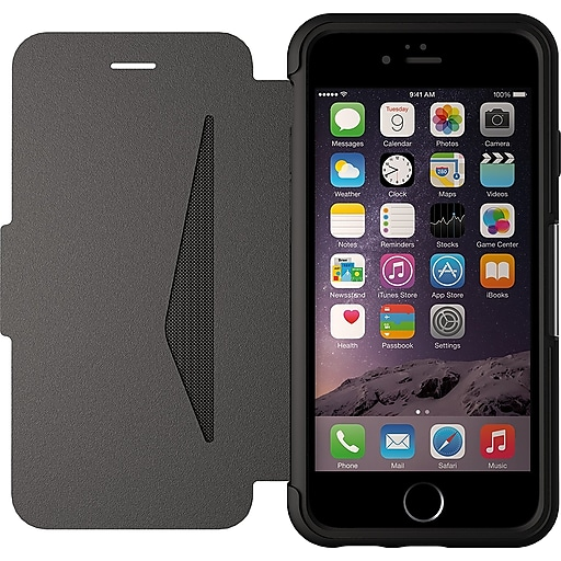 save off 4278f ca57a Otterbox Strada Series Leather Wallet Case for iPhone 6 Plus, Black  (77-51582)