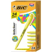 BIC – Surligneurs de poche Brite Liner, pointe biseautée, 24/boîte, jaune
