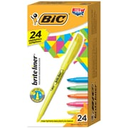 BIC Brite Liner Highlighter Pocket Chisel Tip 24-Count Box, Assorted Colours