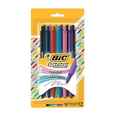 BIC - Stylo à bille à pointe douce, 12/paquet, couleurs variées