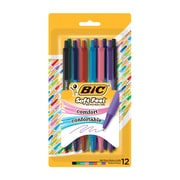 BIC Soft-Touch Comfort Ballpoint Pen, 12/Pack, Assorted Colours