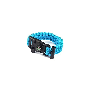 Etcbuys Outdoor Survival Bracelet with Compass, Whistle, & Flint Fire Starter, Blue