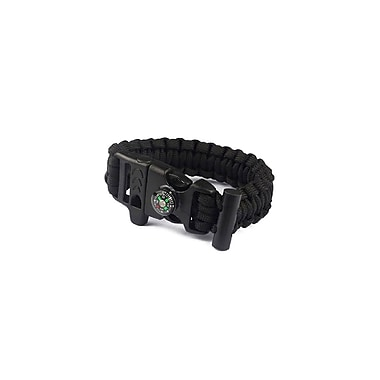 Etcbuys Outdoor Survival Bracelet with Compass, Whistle, & Flint Fire Starter, Black