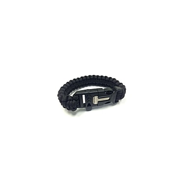 Etcbuys Paracord Nylon Survival Bracelet With Flint Scraper, Whistle, and Cutting Tool, Black