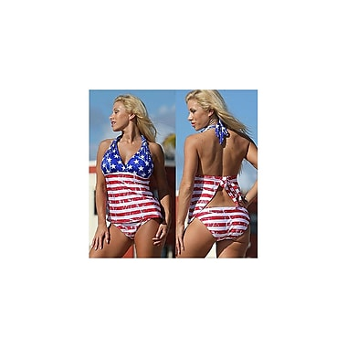 Etcbuys American Flag V-neck Slim Fit Bathing Suits, Large