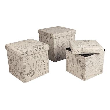 Danya B Folding Storage Ottoman 3-Piece Set, Vintage Script Cream Fabric (WX15339TVL-SET)