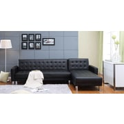 Carabelle Tufted Bi-Cast Leather Sectional Sofa Bed with Storage