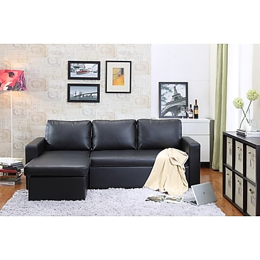Carabelle Bi-Cast Leather Sectional Sofa Bed with Storage