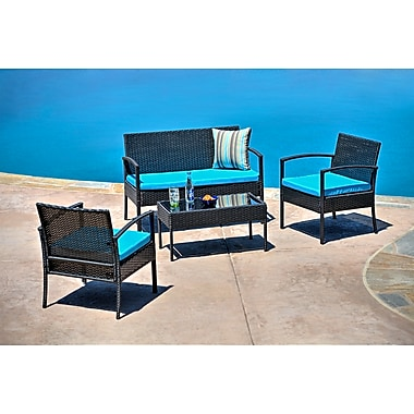Carabelle 4-Piece Wicker Teaset Patio Seating Set with Cushions, Blue (BLM0313BKBL)