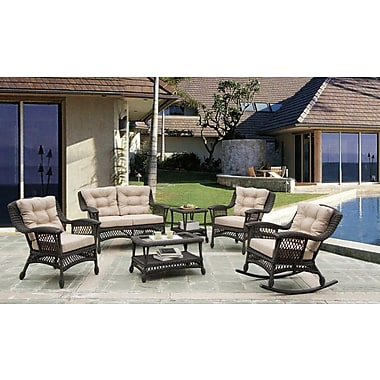 W Home Collection Outdoor Garden Patio 6-Piece Cappuccino Furniture Conversation Set