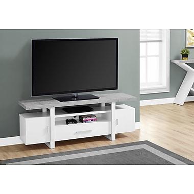 Monarch - Support de téléviseur de 60 po de long., dessus à effet ciment, blanc (I 2725)