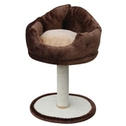 PetPals Nook Fleece Bed with Sisal Post, Brown (PP0106)