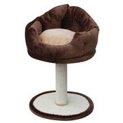 PetPals Nook Fleece Bed with Sisal Post, Brown (PP0106)