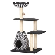 PetPals Ace Contemporay Cat Furniture with Teaser, Black/White (PP2582)