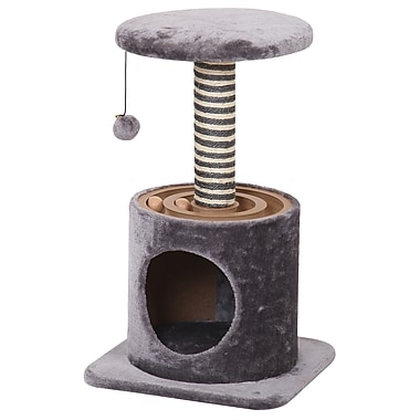 PetPals Velocity Cat Tree with Condo and Racing Toy, Grey (PP3354G)