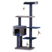 PetPals Midnight Molly Cat Tree with Three Hanging Teaser, Navy (PP5469)