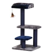 PetPals Fern Three Level Cat Tree with One Hanging Teaser, Navy (PP5470)
