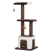 PetPals Terre Three level Cat Tree with Teasers, Cream/Brown (PP5471)