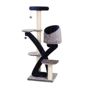 PetPals Huggy Five Level Cat Tree with Sisal Mat, Blue/Grey (PP6364A)
