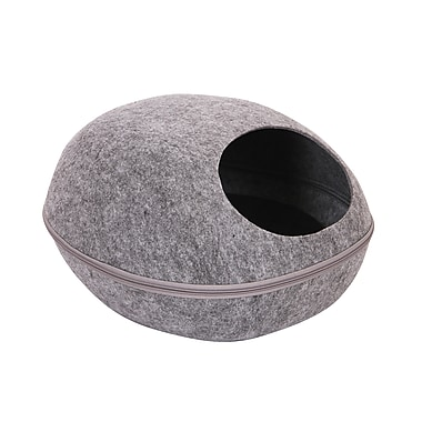 PetPals Felt Pod Bed With Removable Cover, Smoky Grey (PP-DD-S1-GRY)