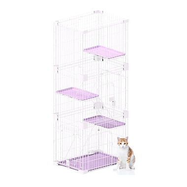 PetPals Wirehouse Three-Level Cat Cage, Pink (SY-D008)