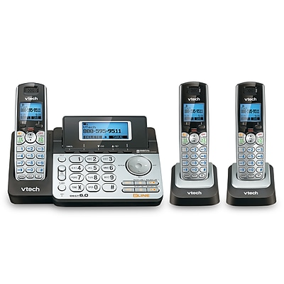 VTech 2 Line 3 Handset cordless phone bundle with (1) DS6151 phon system and (2) DS6101 Handsets