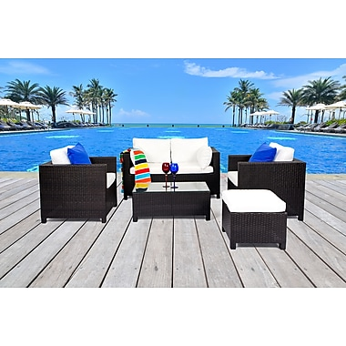 Velago LUGANO Resin Wicker Conversation Set, Outdoor Sofa Patio Furniture (1187)