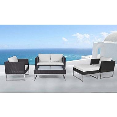 beliani ensemble de salon crema en poly rotin mobilier de jardin moderne brun staples. Black Bedroom Furniture Sets. Home Design Ideas