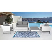 Velago CAPRIASCA White Wicker Conversation Set, Modern Outdoor Furniture (12428)