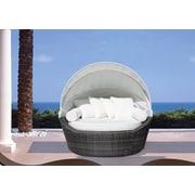 Beliani – Causeuse de patio SYLT avec pare-soleil, lit de jardin couvert d'un pare-soleil, osier synthétique