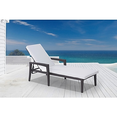 Velago BELLINZONA Outdoor Lounge Chair, Adjustable Wicker Sun Lounger (4245)