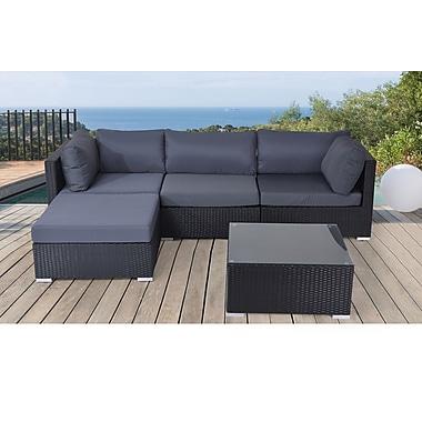 Beliani Sano Sectional Outdoor Sofa Set Modern Black Wicker Furniture Staples