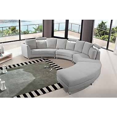 Velago ROSSINI Round Sofa, Sectional Settee, 7 Seater, Upholstered, Light Grey (11508)