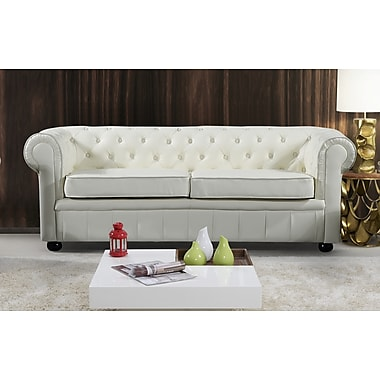 Velago AVIGNON Genuine Leather Sofa, Settee, Two Seater Quilted Loveseat  Couch, Beige (
