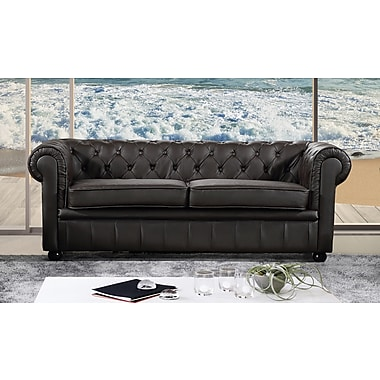Velago Avignon Genuine Leather Sofa Settee Two Seater Quilted Loveseat Couch Brown