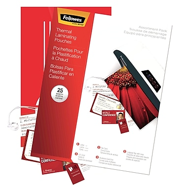 Fellowes Laminating Pouch 3 mil & 5 mil Assorted Starter Kit, 25/Pack
